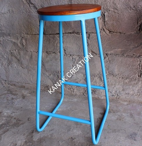 Wooden top  with iron blue legs bar stool