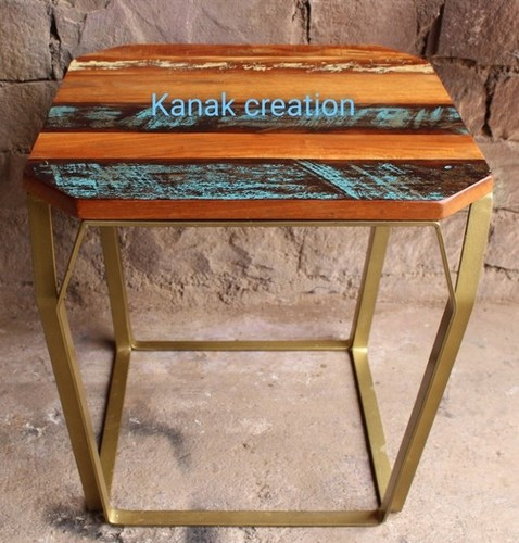 Side table with reclaimed seat top