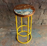 Industrial Round Stool with reclaimed wood top