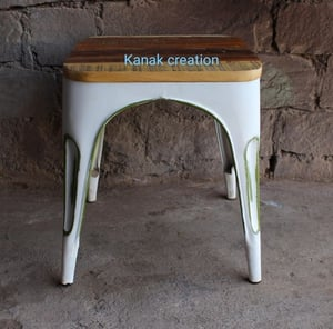 White Low Metal Industrial Bar Stool with seat wood top