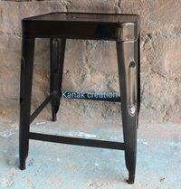 Black Low Metal Industrial Bar Stool