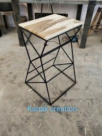 Antique designer industrial stool with wooden top