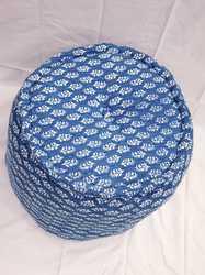 Indigo Blue Hand Block Print Pouf With Cotton Filling Ottoman