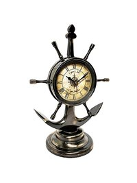 Table Clock – Anchor and Ship Wheel