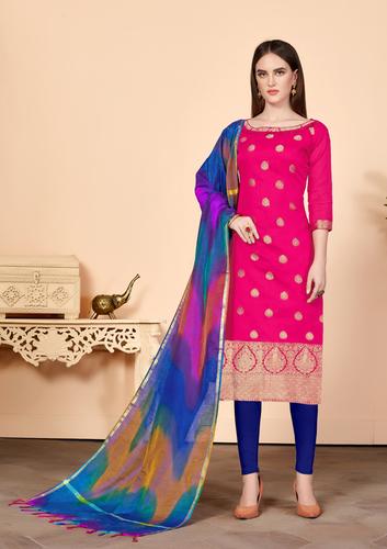 Women's Pink Banarasi Cotton Dress Material Having Banarasi Dupatta With Tassels