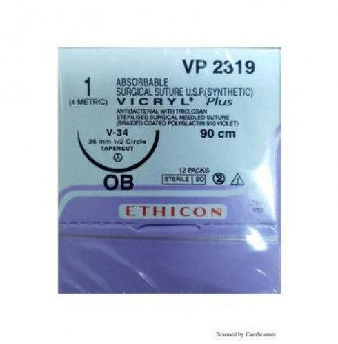 Ethicon Synthetic Absorbable Coated Vicryl Plus Antibacterial Sutures VP2319)