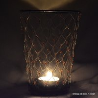 Antique Glass Clear Candle Holder