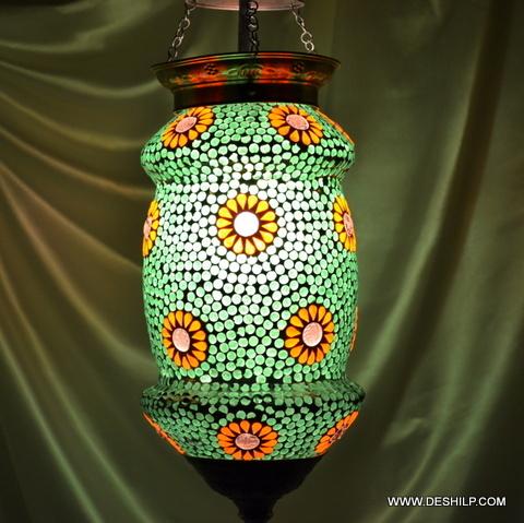 Multi Mosaic Glass Wall Hanging Lamp