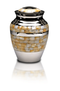 Mother of Pearl Cremation Urn in Brass with Nickel