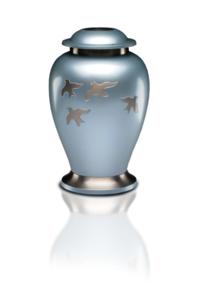 Avondale Urn with Birds in Flight in Beautiful Pearl Gray