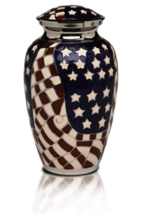 New Patriotic Red,White & Blue American Flag Cremation Urn
