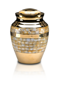 Mother of Pearl Cremation Urn in Golden Brass