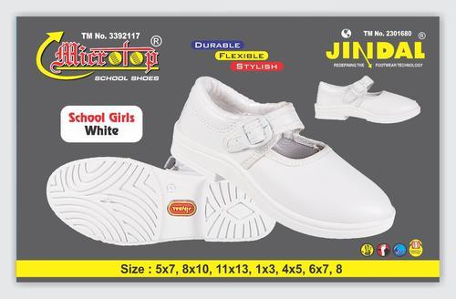 Girls White School Shoe