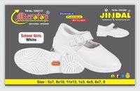 Girl White School Shoe