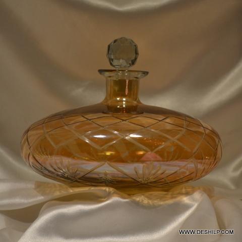 Cutting Yellow Glass Perfume Bottle