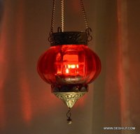 Red Glass T Light Candle Holder
