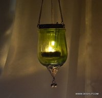 Green Glass  T Light Candle Holder