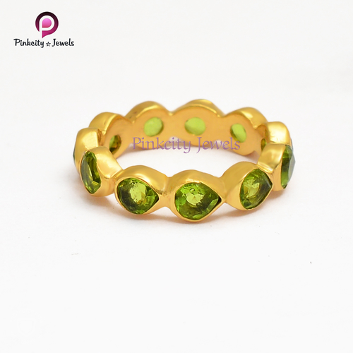 Peridot Gemstone silver gold plated Ring