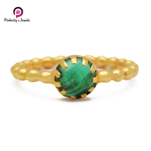 Green Round Faceted Gemstone Handmade Ring