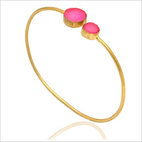 Natural Pink  Round Gemstone Bangle