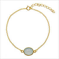 Aqua Chalcedony 925 Silver Chain Bracelet