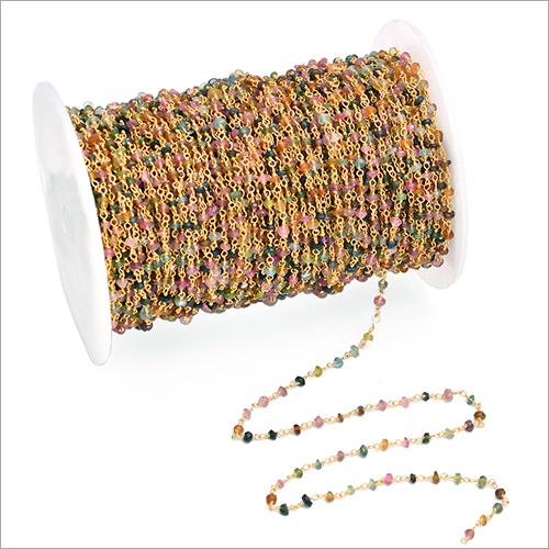 Natural Multi Tourmaline Gemstone Rosary Chain