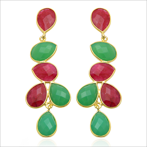 Gemstone Silver Gold Plated Earring