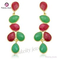 Beautiful Ruby /Emerald Gemstone 925 Silver Earring