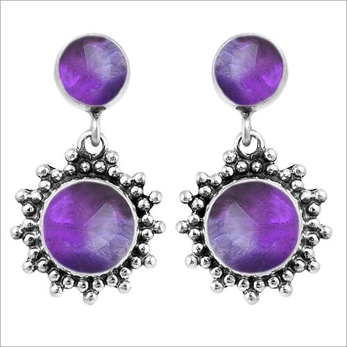 Gemstone Silver Earrings Women Jewelry