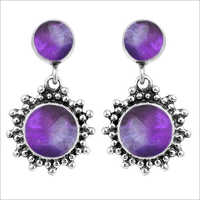 Gemstone Silver Earrings Women Jewelry