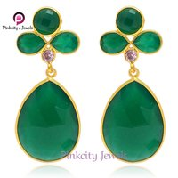Natural Green Onyx 925 Silver Earring