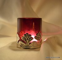 Metal Fitting Glass T Light Candle Holder