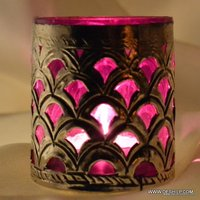 Metal Fitting Glass Candle Holder