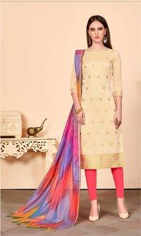 Women's Beige Banarasi Cotton Dress Material Having Banarasi Dupatta With Tassels