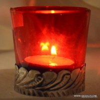 Red Glass Metal Fitting Candle Holder