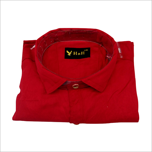 Mens Red Cotton Plain Shirt