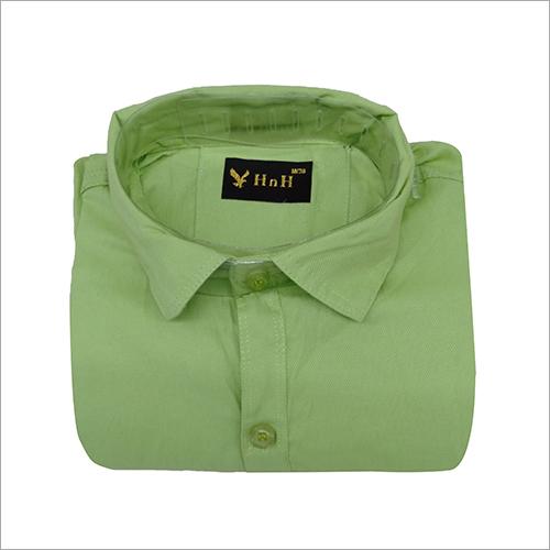 Mens Green Casual Plain Shirt