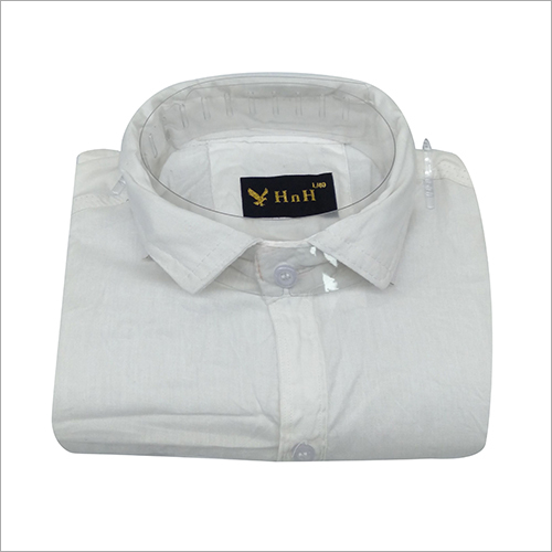 Mens White Cotton Plain Shirt