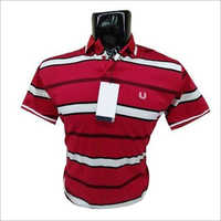 Mens Striped Cotton Polo T-Shirt