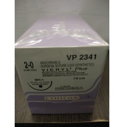 Ethicon Synthetic Absorbable Coated Vicryl Plus Antibacterial Sutures (Polyglactin 910 With Triclosan) (VP2346)