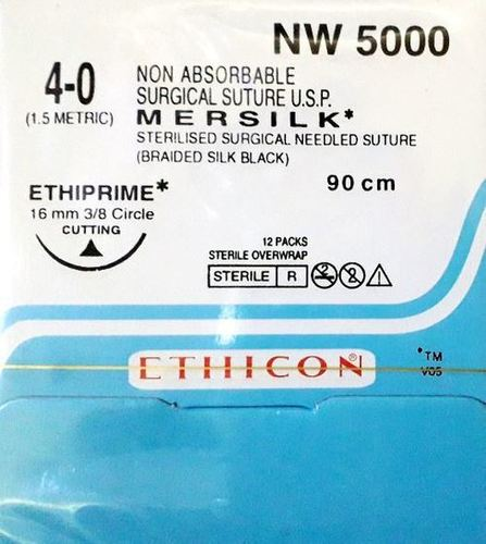 ETHICON - MERSILK ( BLACK BRAIDED SILK WITH NEEDLE SUTURE ) (NW5000)