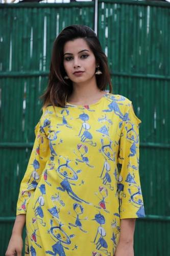Fancy Yellow Printed Kurti