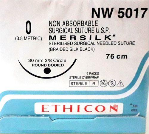 Ethicon - Mersilk ( Black Braided Silk With Needle Suture ) (Nw5017)