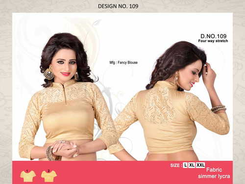 COTTON LYCRA NETTED DESIGNER BLOUSE