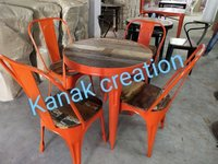 Dining round table and four chair set