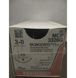 Ethicon Synthetic Absorable Coated Monocryl Plus Antibacterial Sutures (Poliglecaprone 25 With Triclosan) (MCP3326G)