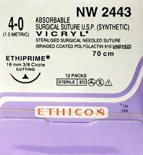 Ethicon Synthetic Absorbable (Polyglactin 910) Coated Vicryl (NW2443)