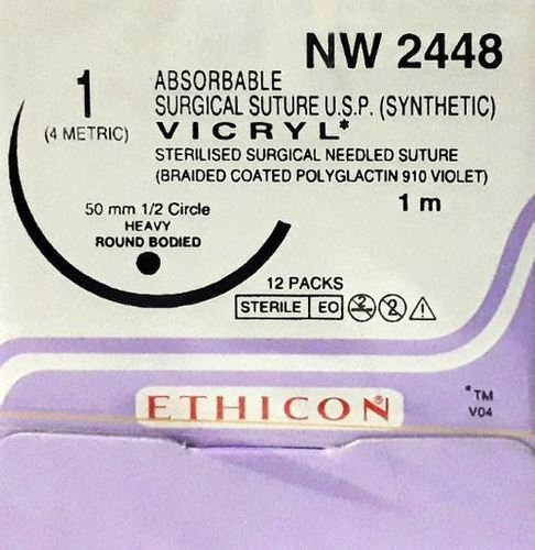 Ethicon Synthetic Absorbable (Polyglactin 910) Coated Vicryl (NW2448)