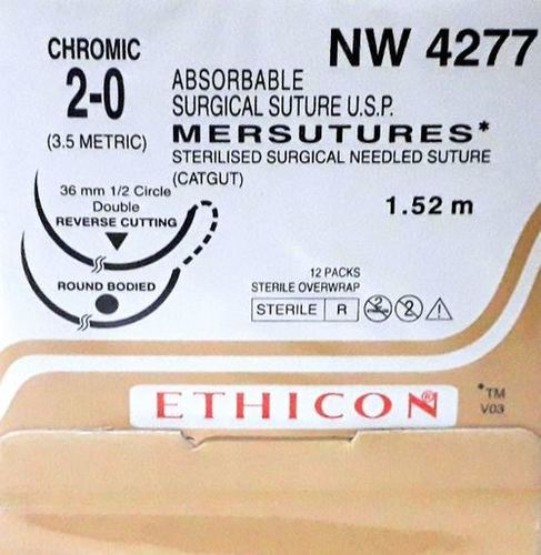 Ethicon Sterilised Surgical Gut Chromic With Needle - Mersutures (Nw4277)