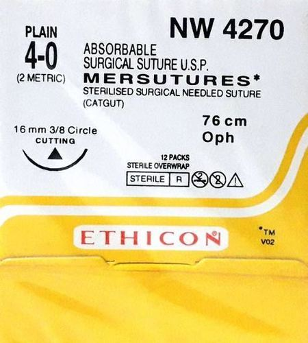 Ethicon Sterilised Surgical Gut Chromic With Needle - Mersutures (Nw4270)
